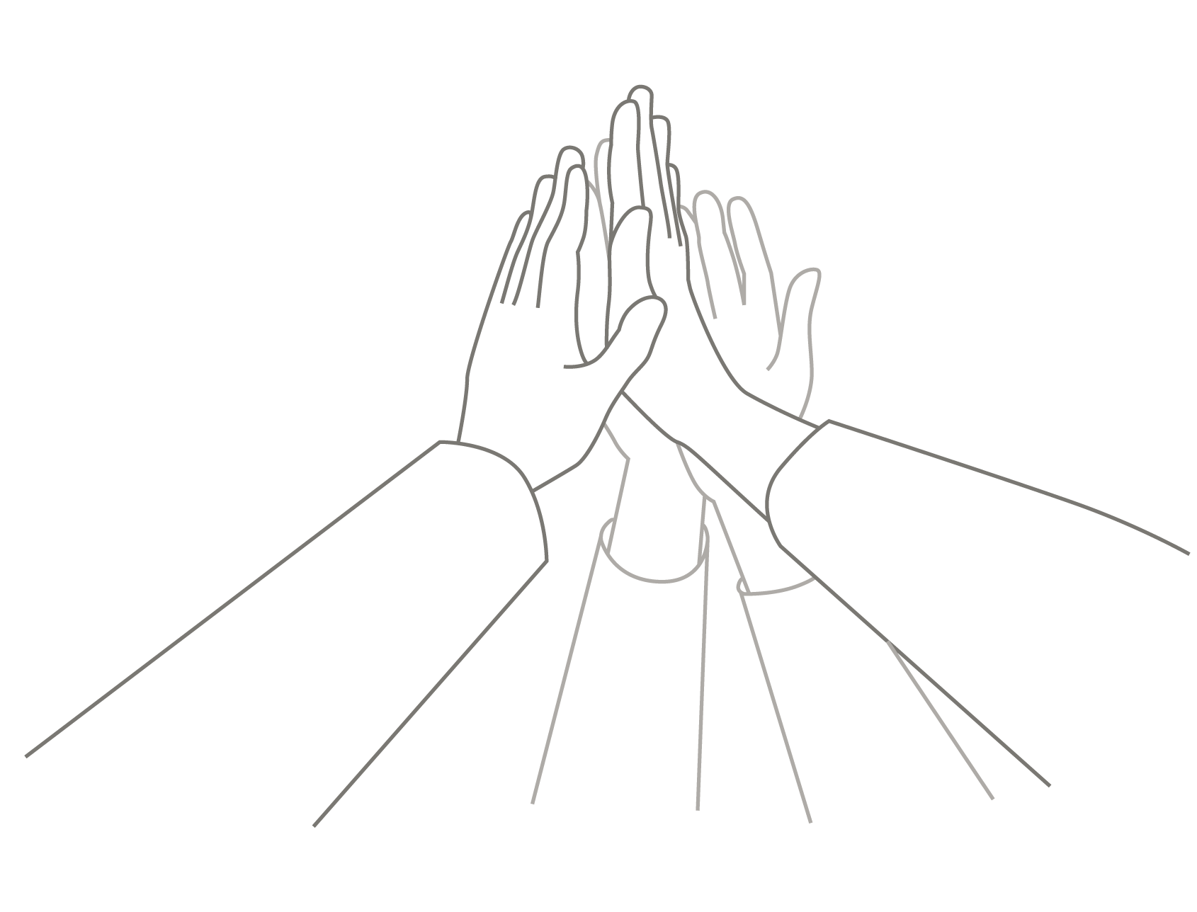 Four hands meeting in a high five in celebration of success